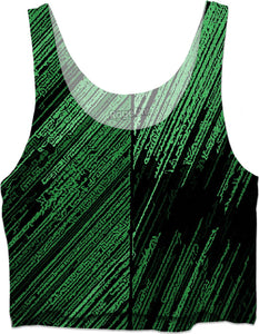 Line art - the scratch, green and black crop top, vertical orientation, canvas pattern