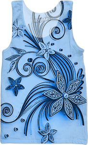 Light Blue flowers, floral ornament, cartoon design, all-over-print tank top shirt