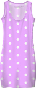 White polka dots on purple, violet, circles, points themed vintage pattern dress.