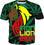 Reggae Iron, Lion, Zion, music, song quote, Jamaican flag colors red green yellow, rastafarian tee shirt