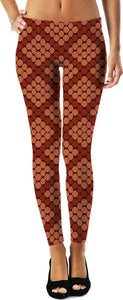 Red and orange honeycomb pattern leggings, geometric themed girls clothing, colored fishnets