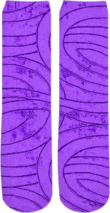 Purple, violet spirals, lines, curves, abstract geometric labirynth design socks