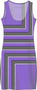 Geometric pattern all-over-print simple dress, gray, purple, violet stripes, lines themed design