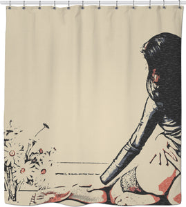 Flower Girl - sensual erotic, perfect girl in seducing lingerie, hot woman nude shower curtain