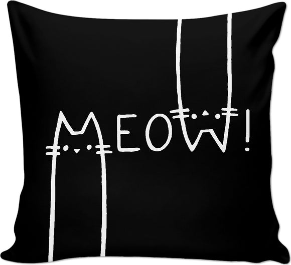 MEOW! Black and white throw pillow, funny vector cats, animals themed couch pillow