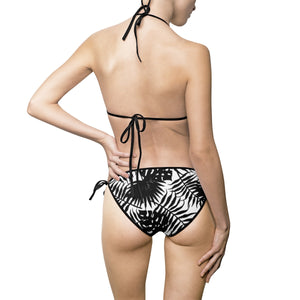 Women's Bikini Swimsuit Set - Black and white tropical leafs