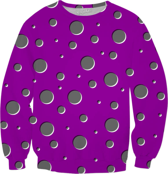 Tripy purple sweatshirt, gray polka dots, raindrops pattern, asymetric shadowed circles geometric theme