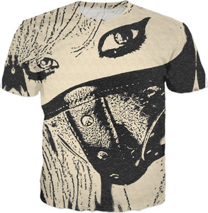Masked pet, sexy blonde girl in fetish leather mask tee shirt, beige and black colors erotic design