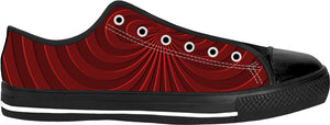Trippy curves, spirals pattern, red on scarlet, geometric themed black low top shoes
