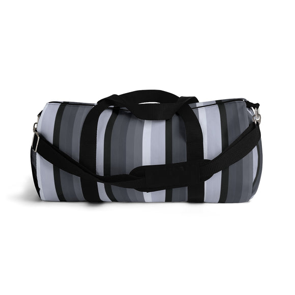 Sporty Duffle Bag - Graphite lines, silver, grey stripes pattern