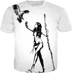 The Falconer - sexy stencil tribal girl artwork, black and white tee shirt design
