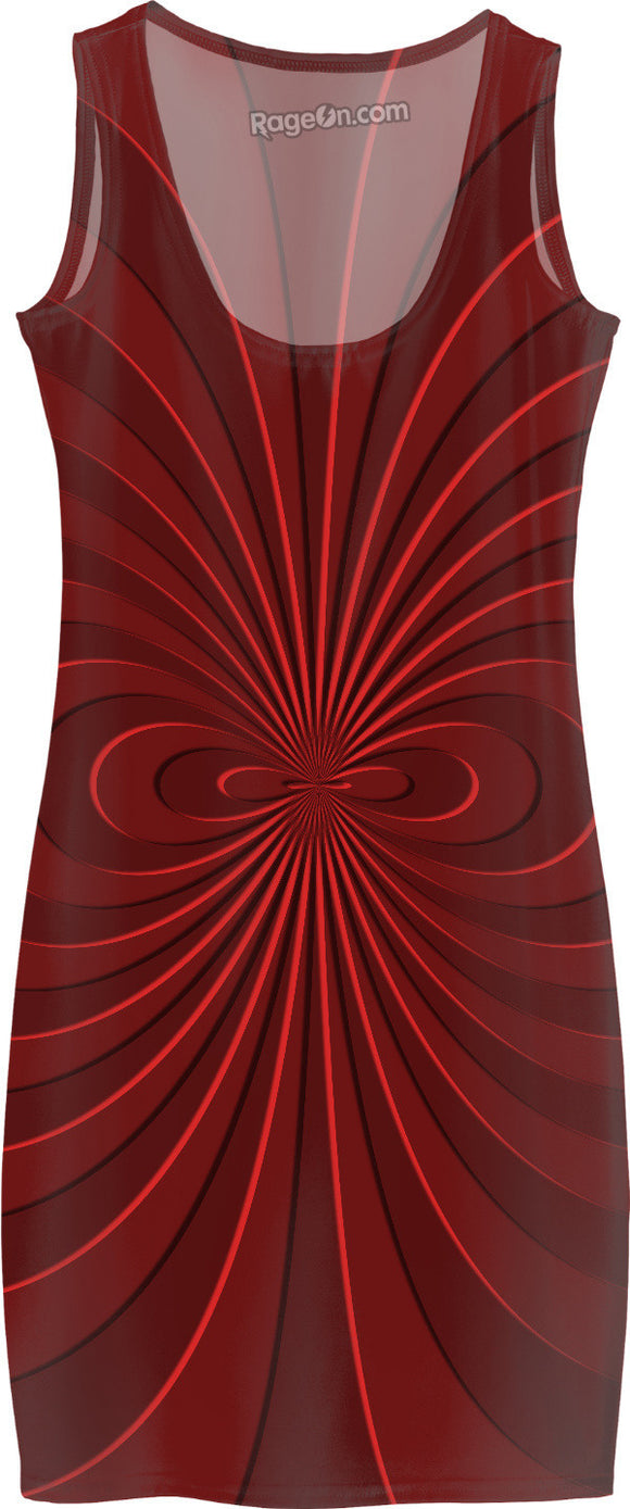 Trippy curves, spirals pattern, red on scarlet, geometric themed all-over-print simple dress design