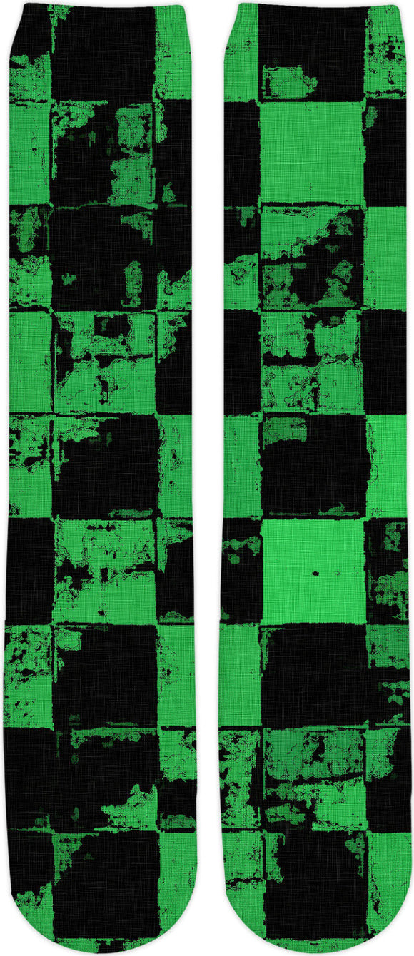 Green and Black Bricks Pattern, grunge tiles, blocks, dark fabric canvas, socks