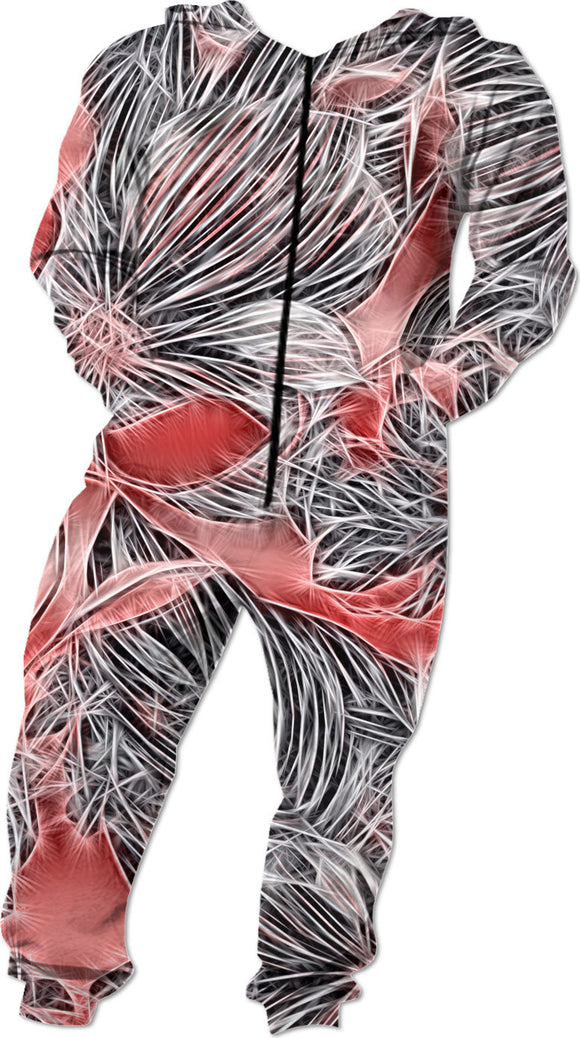 Silver electrified flowers, gray floral abstract pattern on red, scarlet color fabric onesie