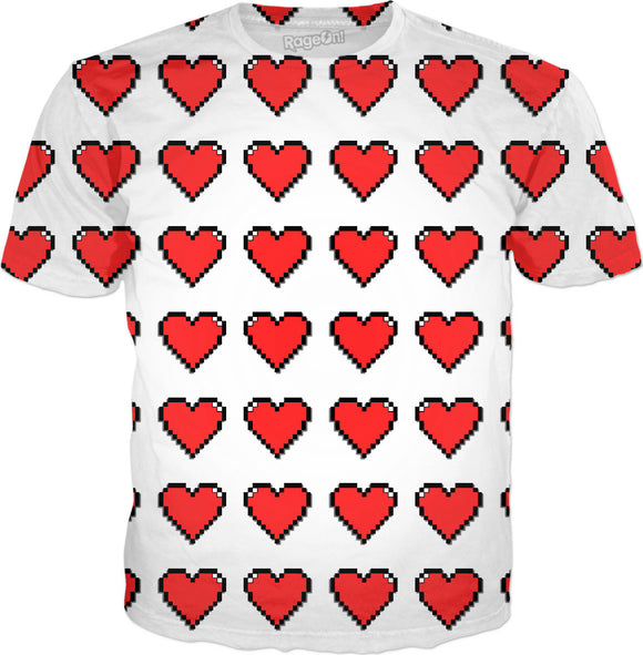 Pixel hearts pattern all-over-print tee shirt design.