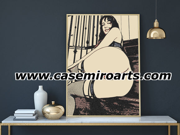 Sexy, Erotic Art 200gsm poster - BBW shows off, sexy brunette in lingerie