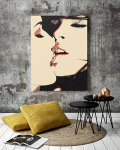 Sexy Erotic Art Canvas Print - Girls love, to play Dirty, lesbian art