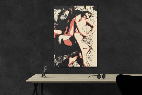 Sexy Erotic Art Canvas Print - Dirty gay Girls, kinky games, lesbian woman artwork 3