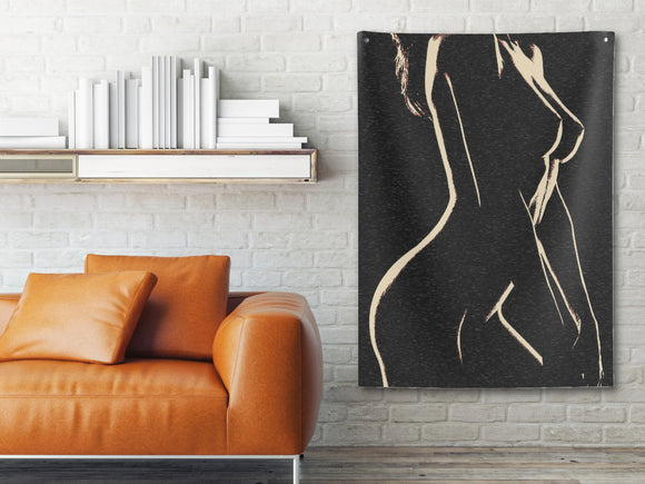 Indoor Wall Tapestries - Perfection in form - Woman - Her shapes in Night