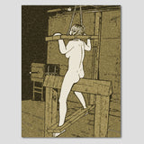 Fetish Erotic Art 200gsm poster - Wood horse torture in dark lair