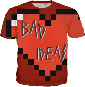Love, BAD Ideas! All-over-print red tee shirt design