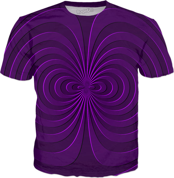 Trippy curves, spirals pattern, purple, violet colors, geometric themed all-over-print tee shirt design