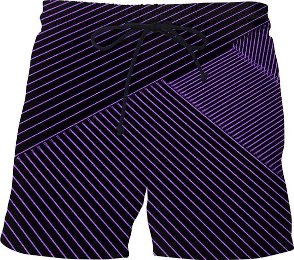 Purple optical illusion, line art at black canvas background swim shorts design.
