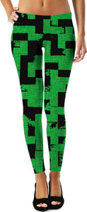 Line Art - The Bricks, tetris style, green and black, grunge pattern leggings