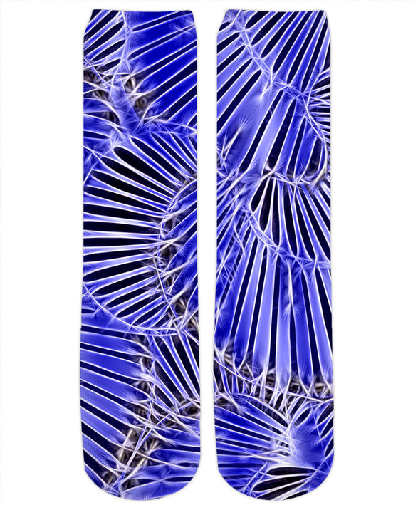 Surreal geometric line art on mixed tones blue, abstract energetic pattern socks.