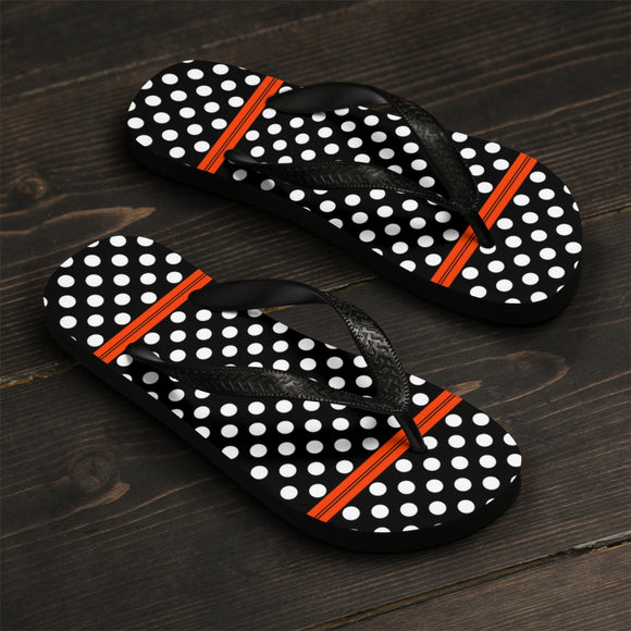 Unisex Flip-Flops - Retro style, vintage polka dots with stripes