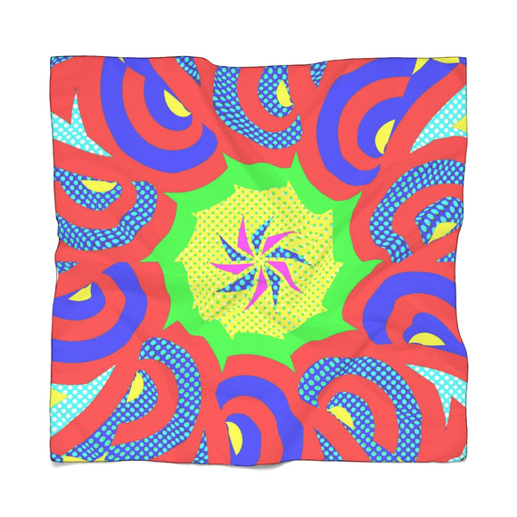 Square poly scarf, bandana in 2 sizes - Colorful geometric theme