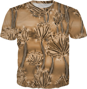 Floral pattern in brown colors, sepia toned flowers, tee shirt design.