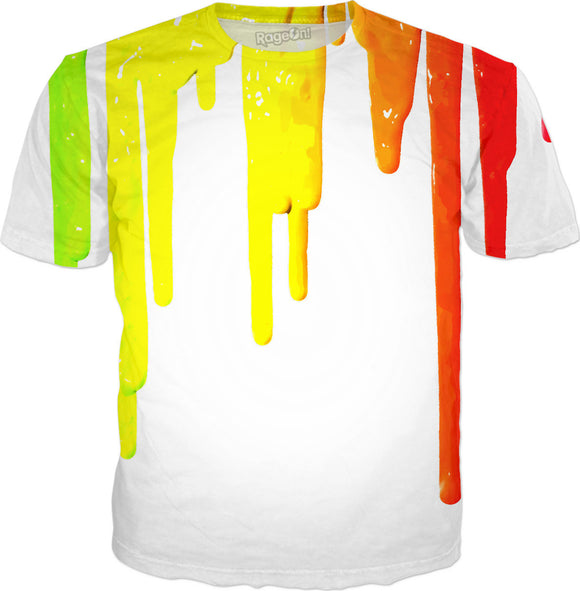 Dripping paint on white lemon yellow canary stripes lines paint splashes tee shirt