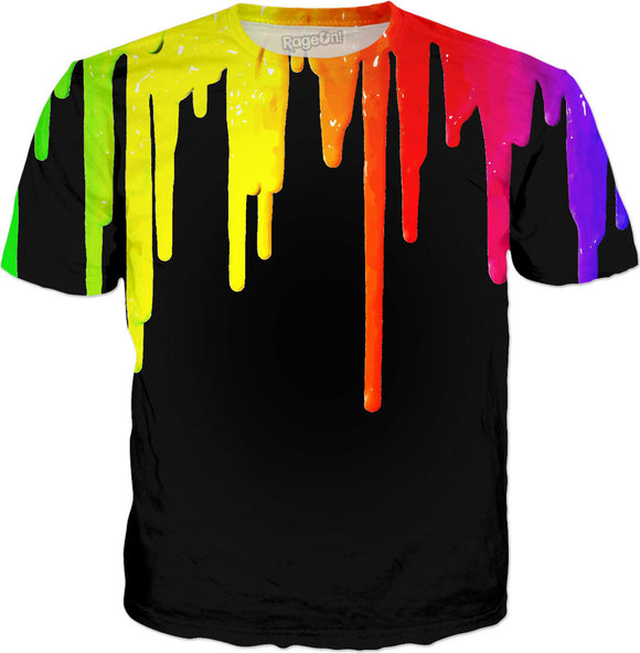 Dripping paint on black, colorful tee shirt design, rainbow colors palette