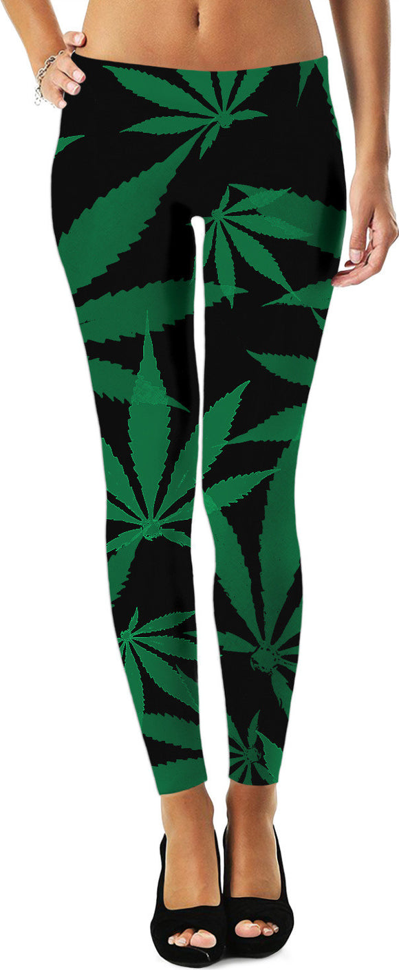 Ganja cut in Fabric green and black pattern, cannabis leafs on dark fabric leggings