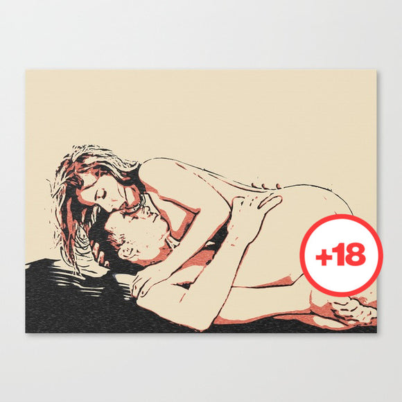 Sexy Art Canvas Print - This is passion! Erotic sketch, couple having sex