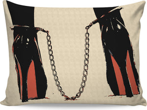 Dirt girls love naughty toys, sexy submissive, high heels and chains, erotic pillowcase, BDSM design