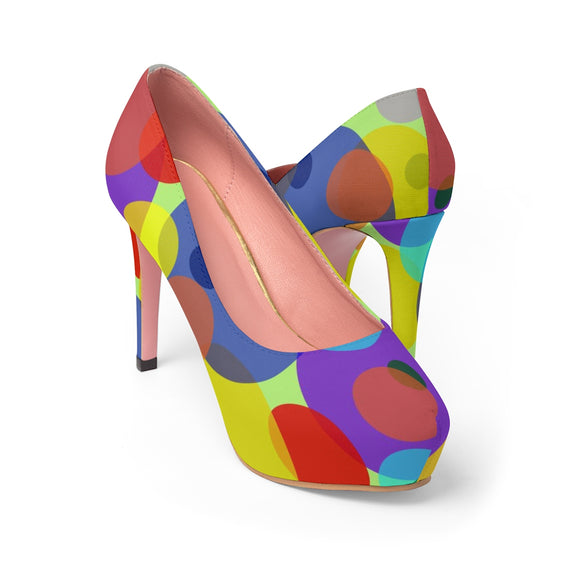 Women's Platform Heels - Pastel ovals, abstract geometric pattern