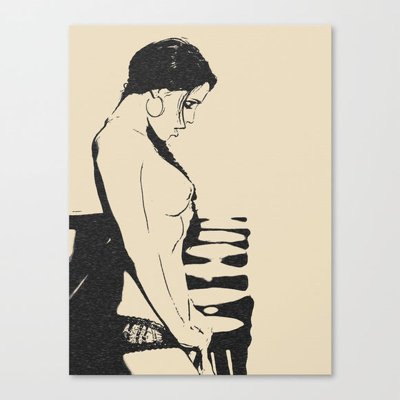 Erotic Art Canvas Print - And what do we have in here? Dark hair kinky girl