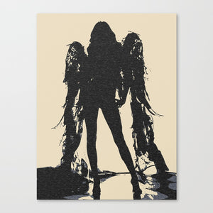 Sexy Art Canvas Print - Angel of Darkness, tempting stencil black and beige, demonic girl