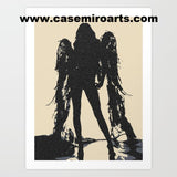 Gallery quality Giclée art print - Angel of Death, dark stencil artwork, sexy demonic creature