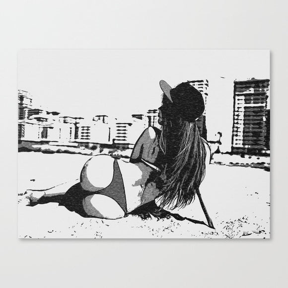 Sexy Art Canvas Print - Hood girl at the beach, hot woman in bikini