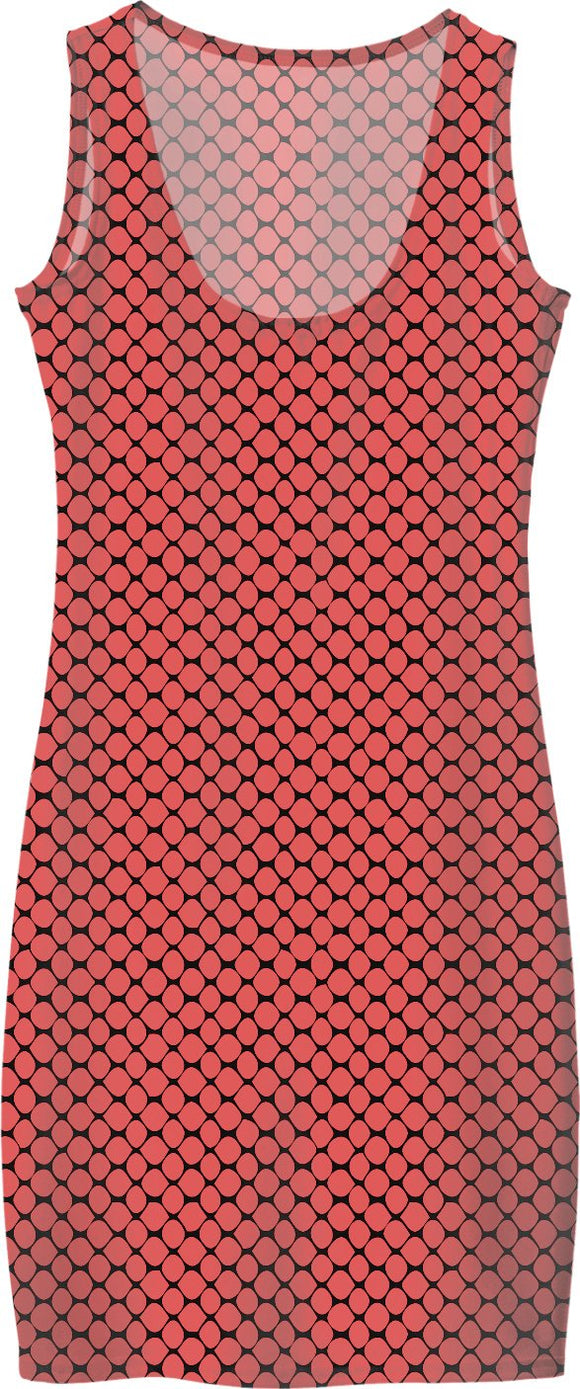 Saturated salmon pink fishnets pattern simple dress, stylish girls everyday style clothing