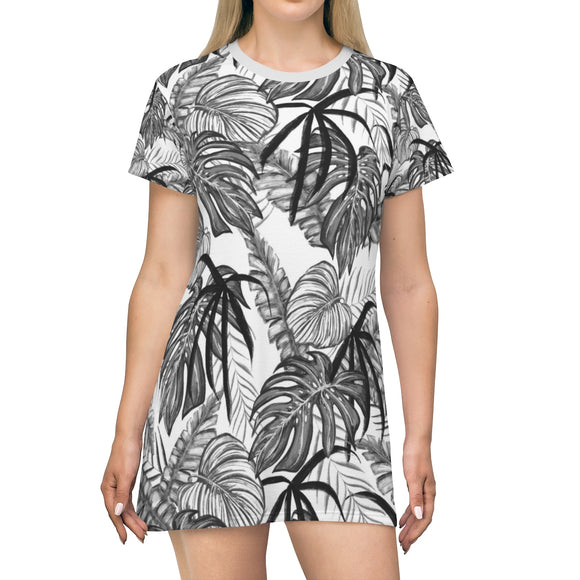 All Over Print T-Shirt Dress - Black and white Palm tree leafs pattern