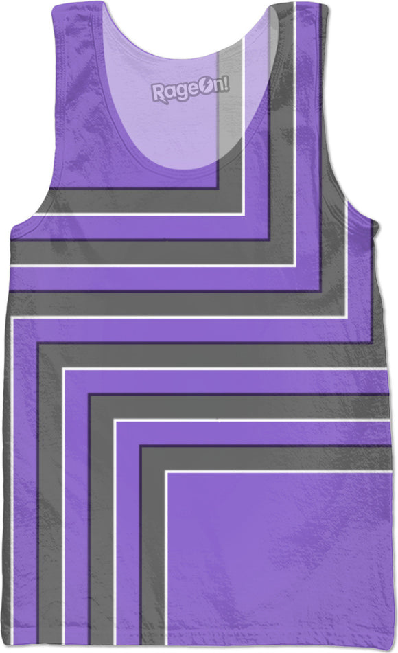 Geometric pattern all-over-print tank top tee shirt, gray, purple, violet stripes, lines themed design