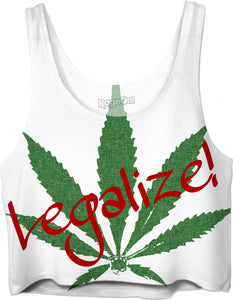 Legalize! Large ganja, weed, pot leaf, cannabis crop top design