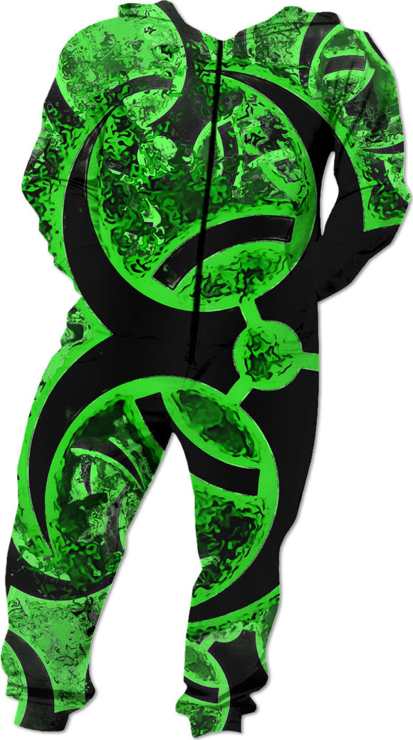 Green and black biohazard sign, bio waste, toxic fallout warning, symbol onesie design