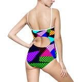 Women's One-piece Swimsuit - Grunge style colorful pattern