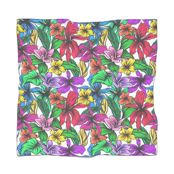 Square Poly Scarf - Hibiscus flowers, colorful floral pattern