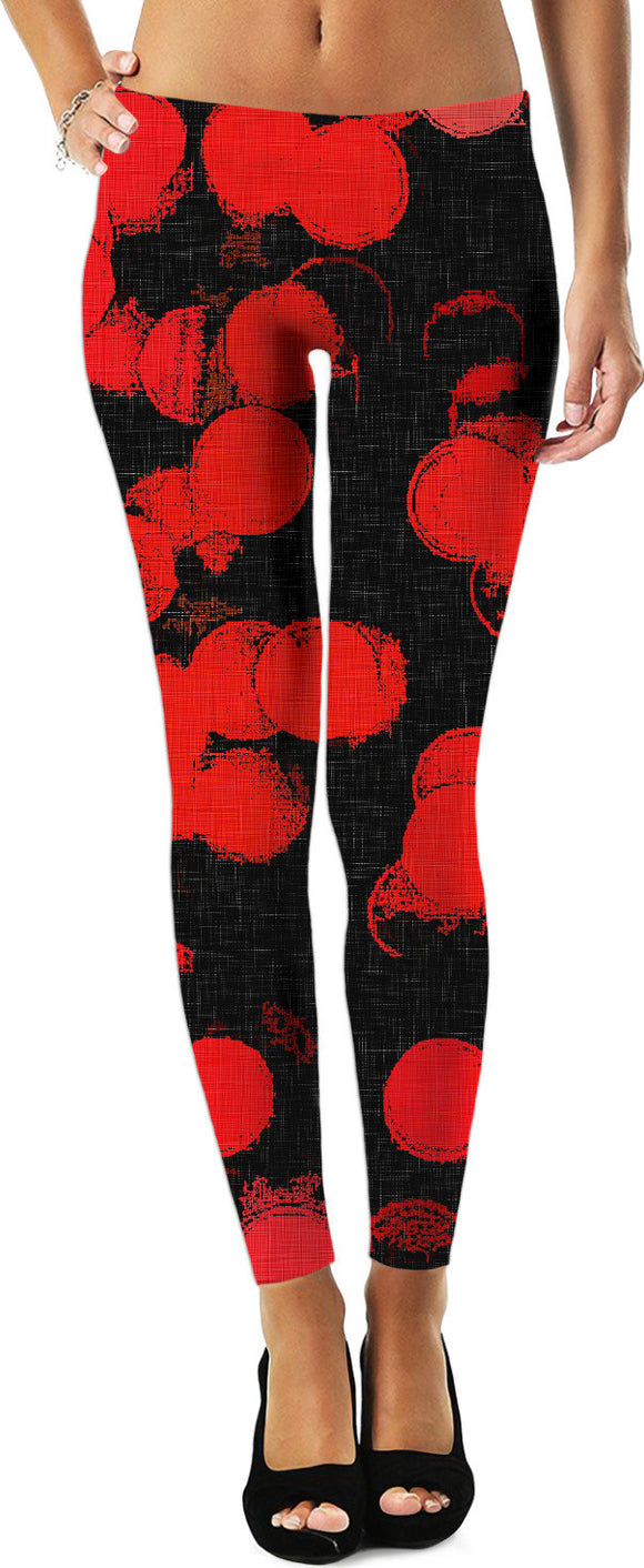 Red and black, abstract circles pattern, grunge leggings design